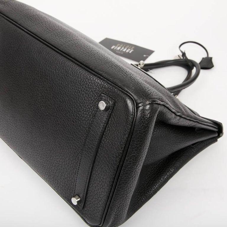 HERMES Birkin 35 Black Togo Leather Bag For Sale 2