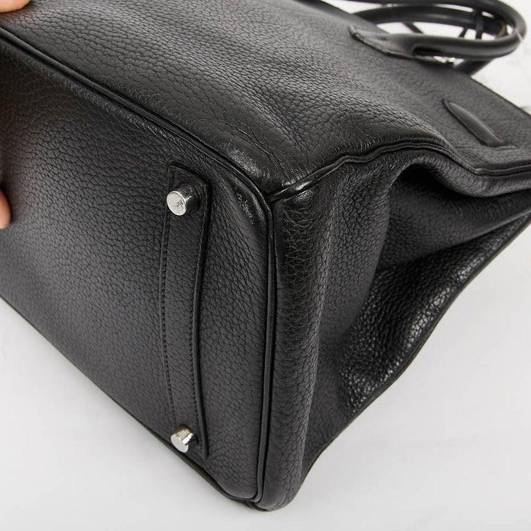 HERMES Birkin 35 Black Togo Leather Bag For Sale 3