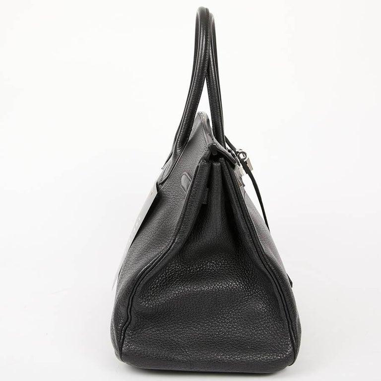 HERMES Birkin 35 Black Togo Leather Bag For Sale 4