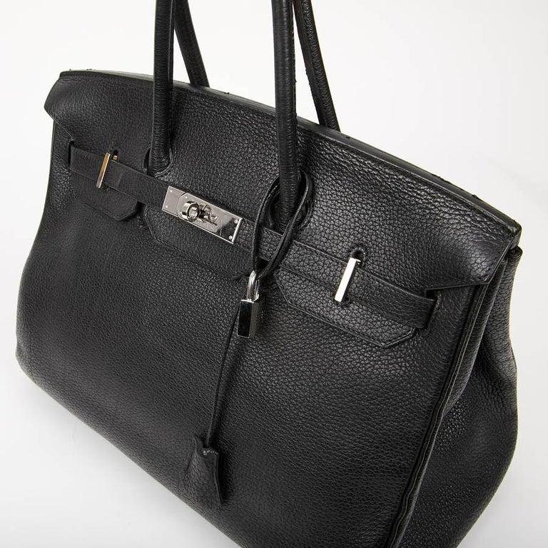 HERMES Birkin 35 Black Togo Leather Bag For Sale 5