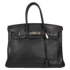 HERMES Birkin 35 Black Togo Leather Bag