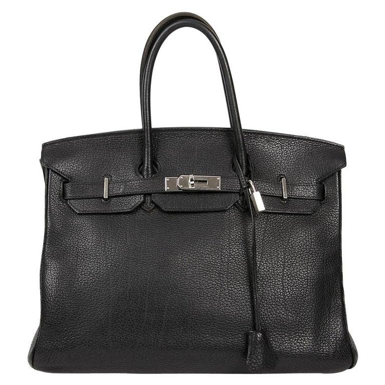 HERMES Birkin 35 Black Togo Leather Bag For Sale