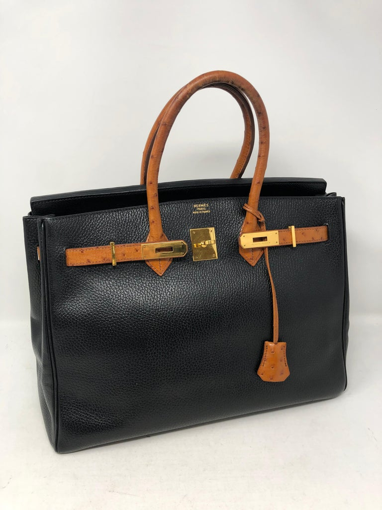 43195462a3 Hermes Birkin 35 Black with Ostrich Leather Handles and Trim. Gold hardware.  Vintage from