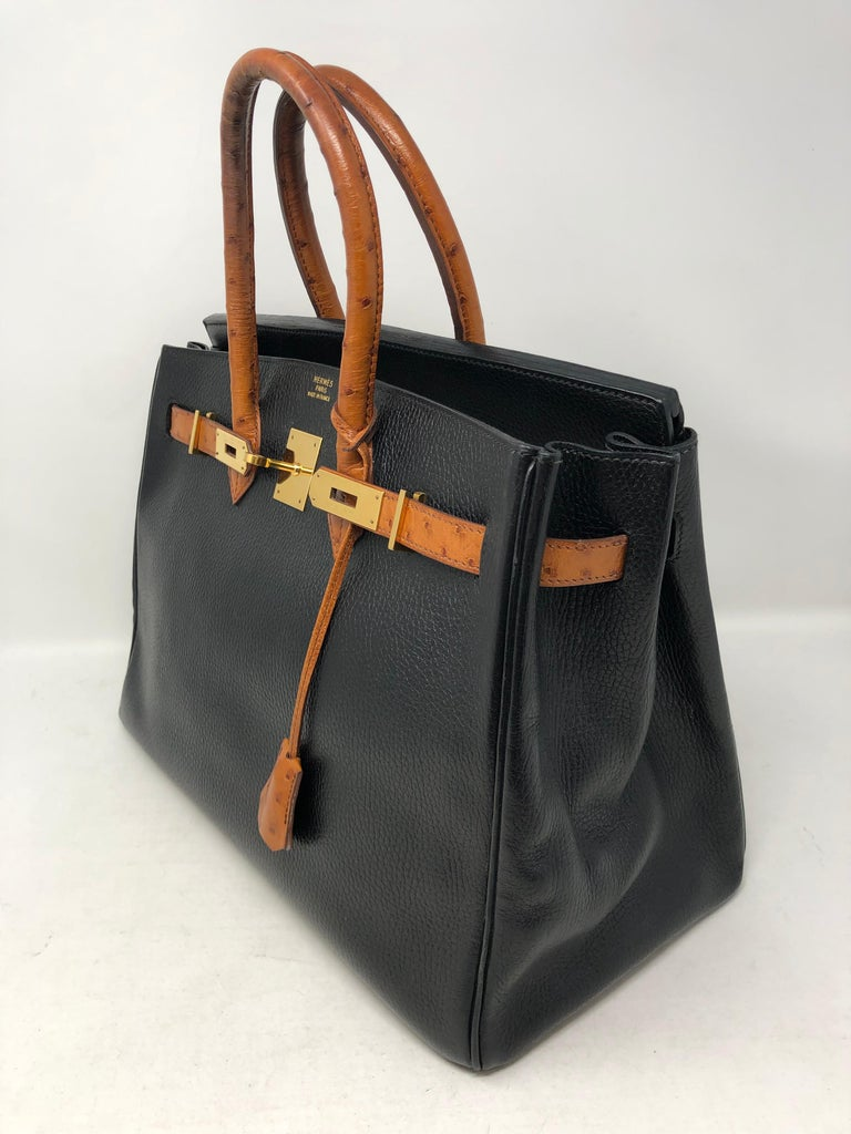 61868e9073 Hermes Birkin 35 Black with Ostrich Leather Handles In Fair Condition For  Sale In Athens