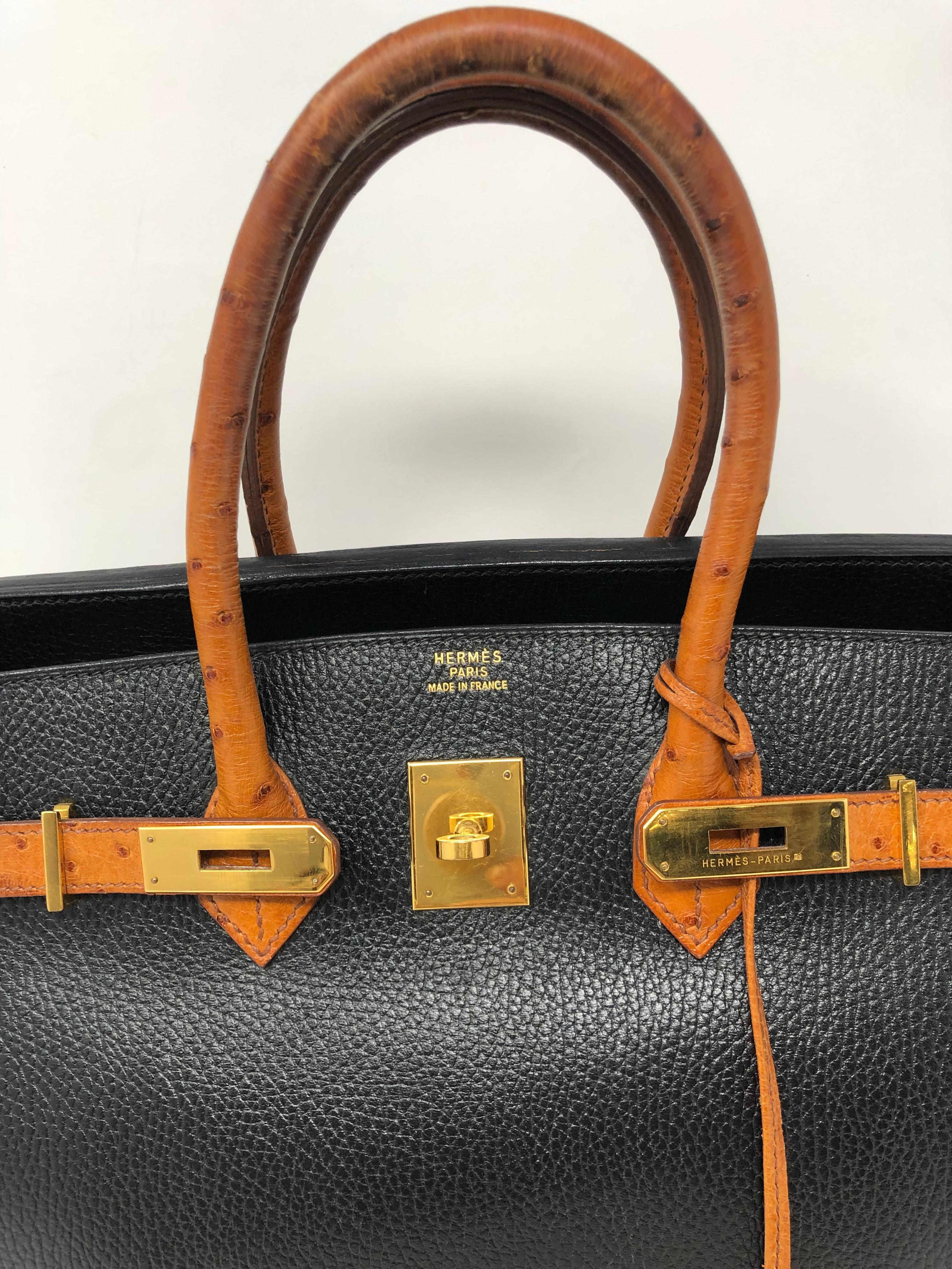 3b325206f720 Hermes Birkin 35 Black with Ostrich Leather Handles For Sale at 1stdibs