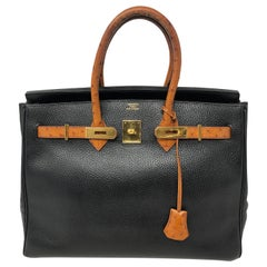 Hermes Birkin 35 Black with Ostrich Leather Handles
