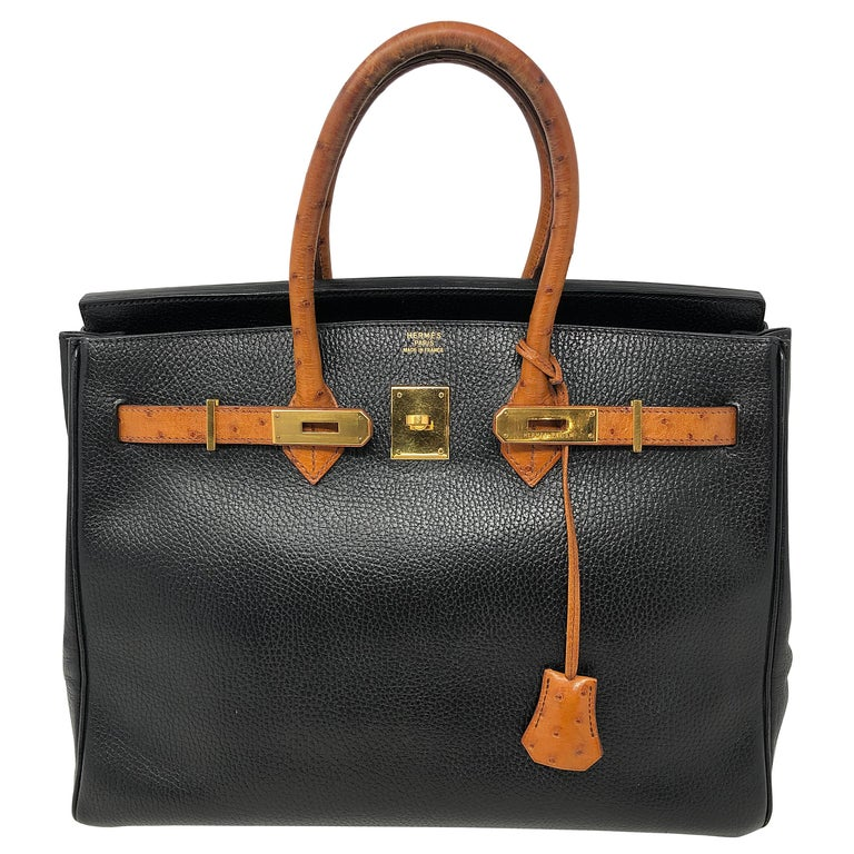 1af3dde341c3 Hermes Birkin 35 Black with Ostrich Leather Handles For Sale at 1stdibs