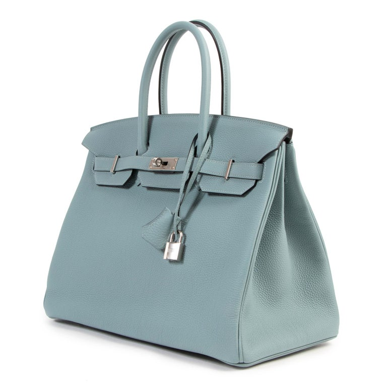 This Brand NEw Hermès Birkin 35 Bleu Ciel Togo PHW is the perfect soft shade of blue. A very hard to get stunning Hermès creation. Ciel is a real VIP color. In