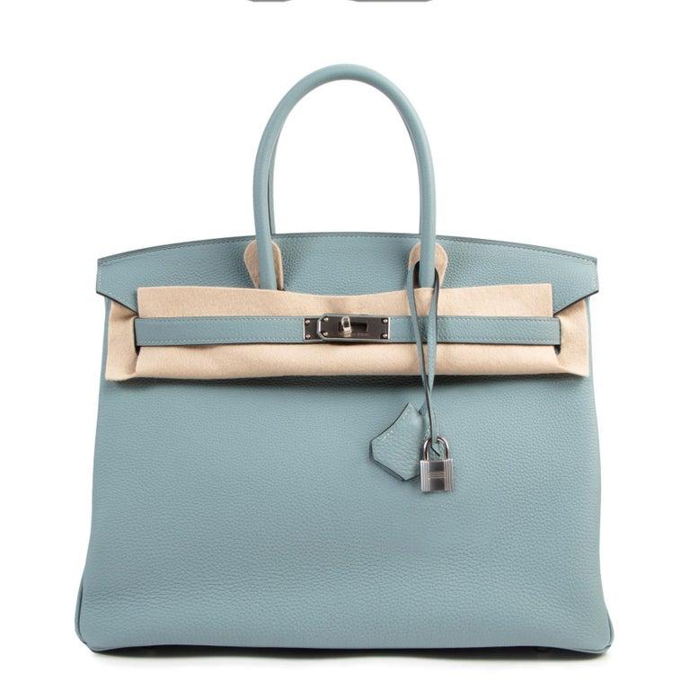 Hermès Birkin 35 Bleu Ciel Togo PHW For Sale 1