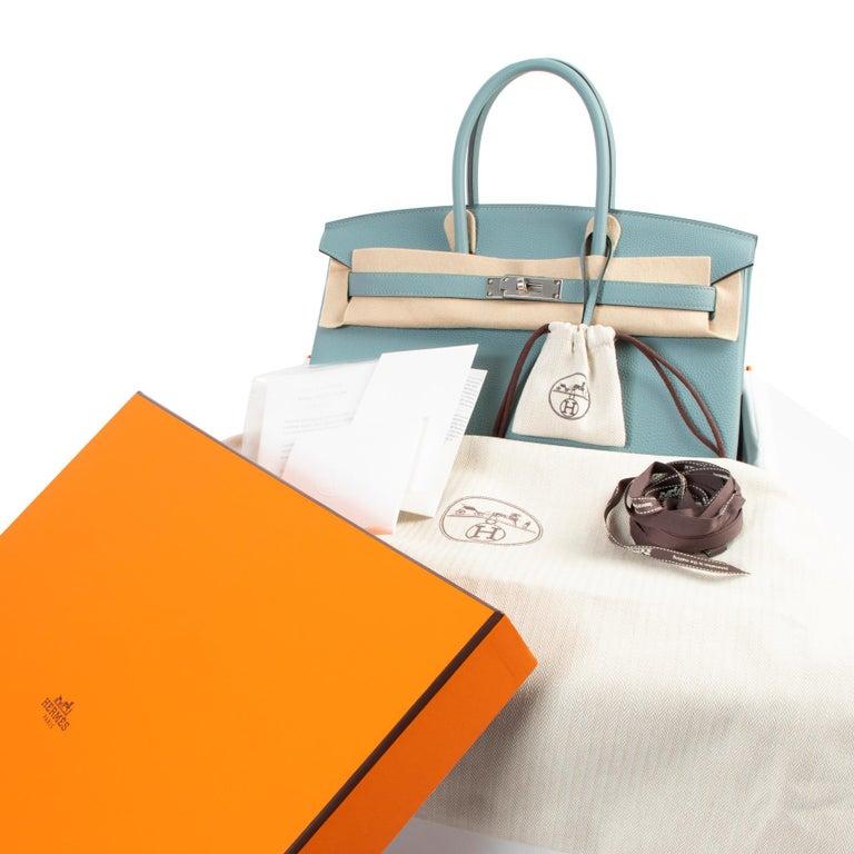 Hermès Birkin 35 Bleu Ciel Togo PHW For Sale 2