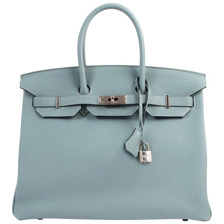 Hermès Birkin 35 Bleu Ciel Togo PHW For Sale