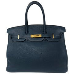 Hermes Birkin 35 Bleu De Malte Togo Bag