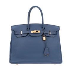 Hermes Birkin 35 Bleu Togo Leather Handbag