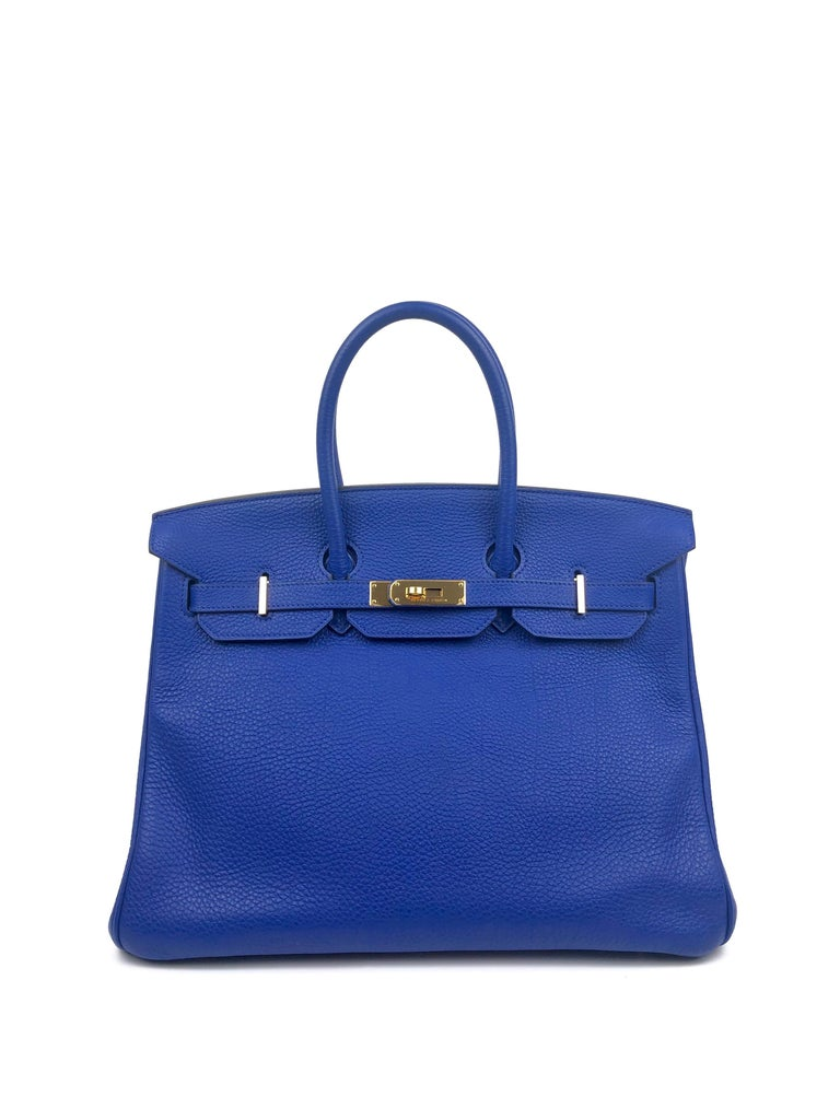 Hermes Birkin 35 Blue Electric Bleu Electrique Togo Gold Hardware W/ Plastic. Excellent Pristine Condition with original plastic on hardware and lock!  Shop with Confidence from Lux Addicts. Authenticity Guaranteed!