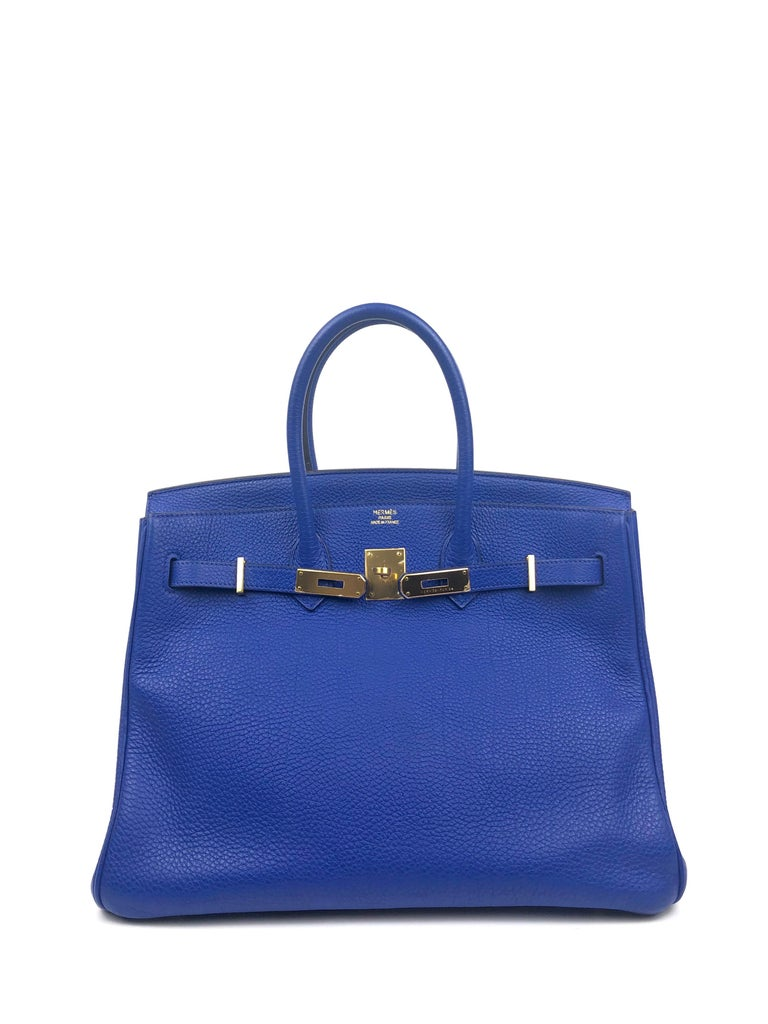 Hermes Birkin 35 Blue Electric Bleu Electrique Gold Hardware  In Excellent Condition For Sale In Lancaster, CA