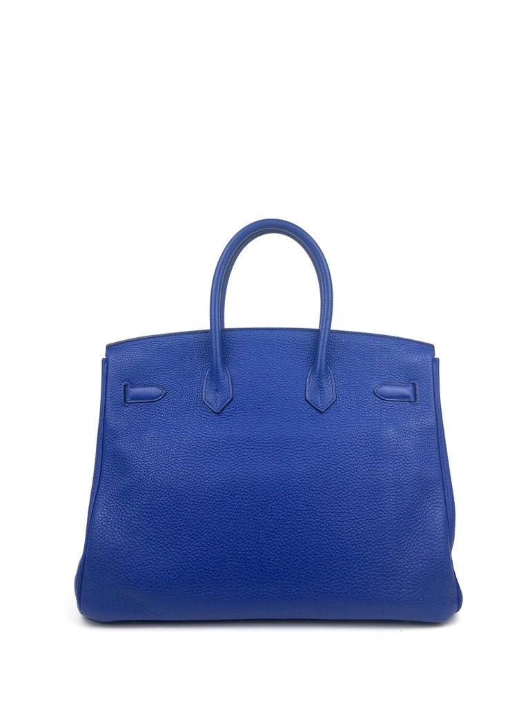 Women's or Men's Hermes Birkin 35 Blue Electric Bleu Electrique Gold Hardware  For Sale