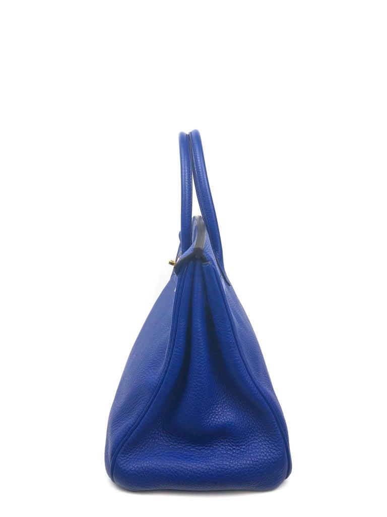 Hermes Birkin 35 Blue Electric Bleu Electrique Gold Hardware  For Sale 3