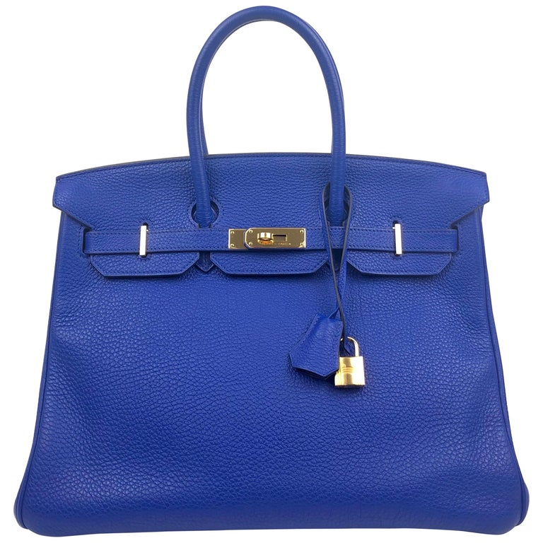 Hermes Birkin 35 Blue Electric Bleu Electrique Gold Hardware  For Sale