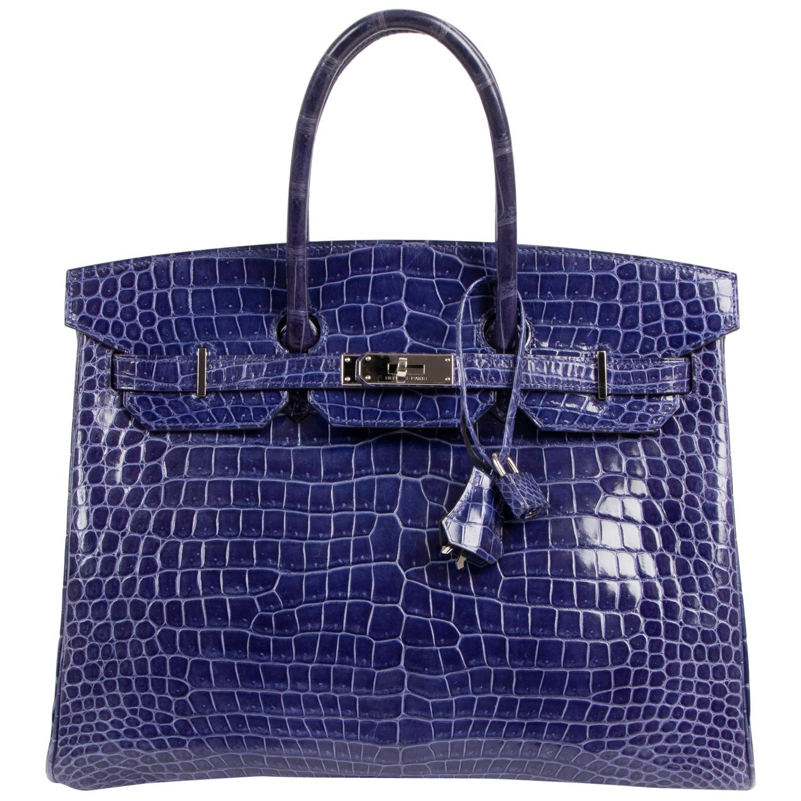 Hermès Birkin 35 Blue Electrique Crocodile Porosus PHW