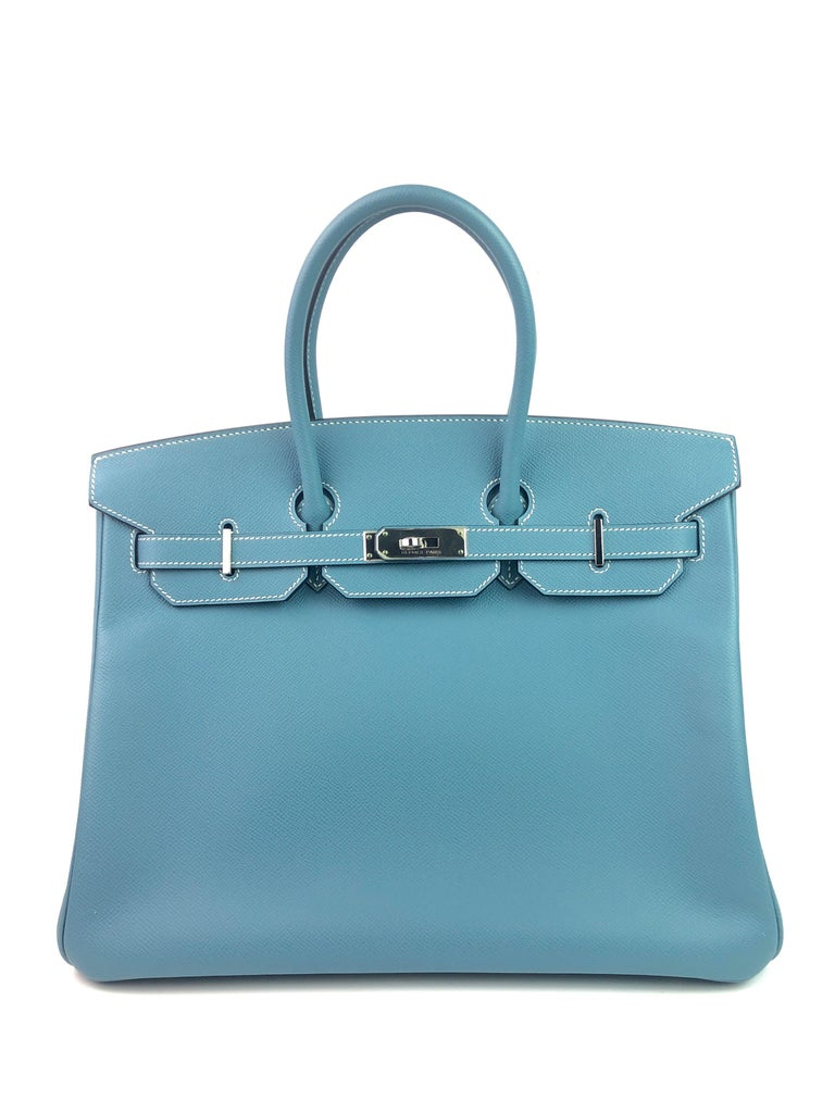 HERMES BIRKIN 35 BLUE JEAN EPSOM PALLADIUM HARDWARE. Almost Like New Pristine condition with Plastic on Hardware and 2 Feet, perfect corners and perfect structure.   Shop with Confidence from Lux Addicts. Authenticity Guaranteed!