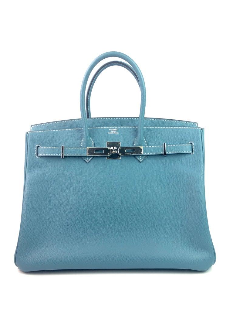 Hermes Birkin 35 Blue Jean Epsom Palladium Hardware  In Excellent Condition For Sale In Miami, FL