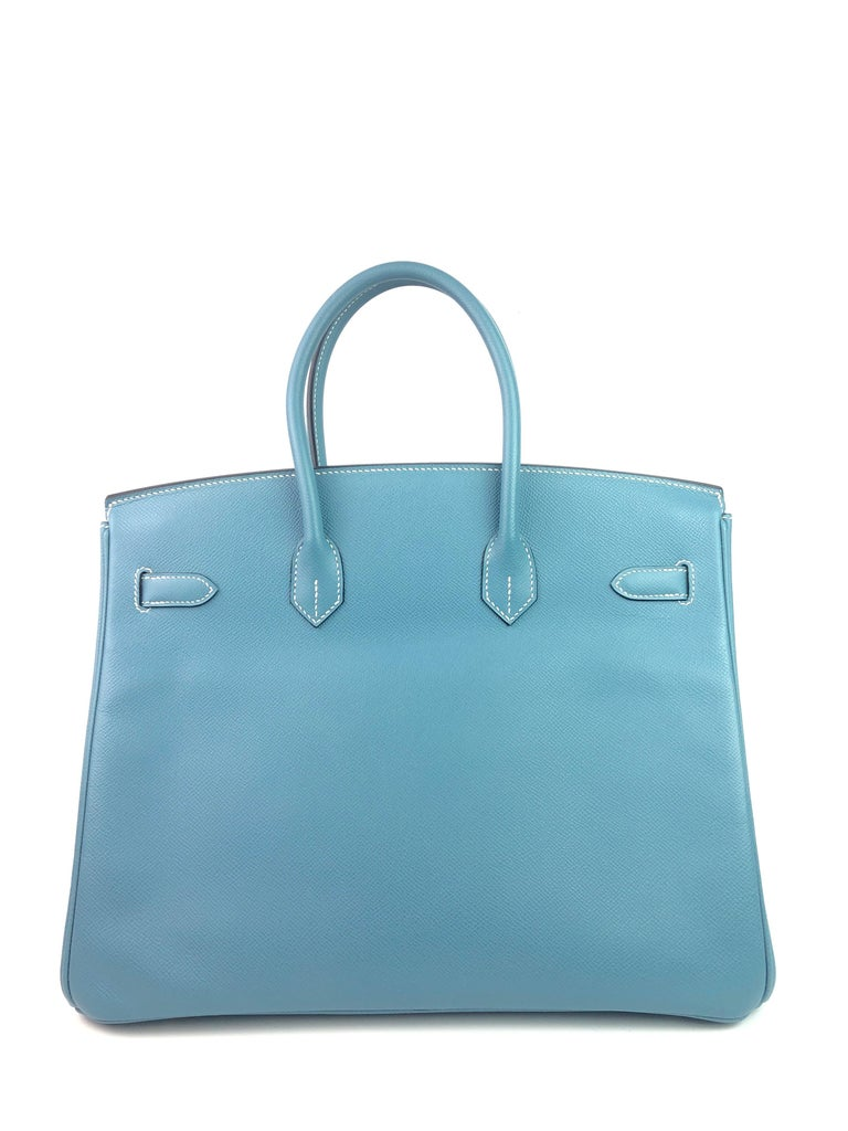 Women's or Men's Hermes Birkin 35 Blue Jean Epsom Palladium Hardware  For Sale