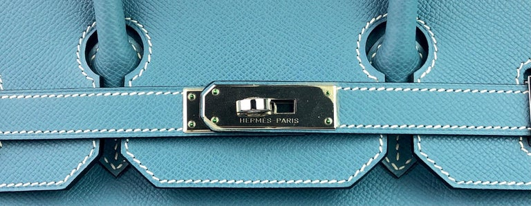 Hermes Birkin 35 Blue Jean Epsom Palladium Hardware  For Sale 1