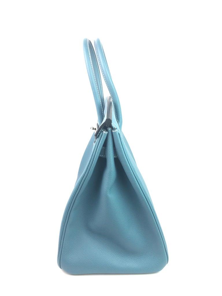 Hermes Birkin 35 Blue Jean Epsom Palladium Hardware  For Sale 3