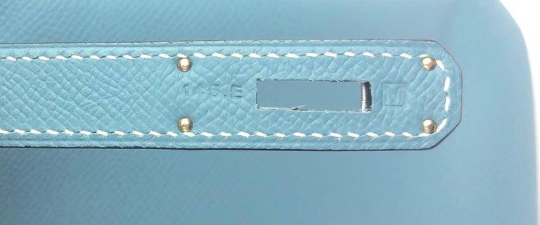 Hermes Birkin 35 Blue Jean Epsom Palladium Hardware  For Sale 4
