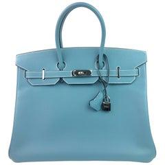 Hermes Birkin 35 Blue Jean Epsom Palladium Hardware