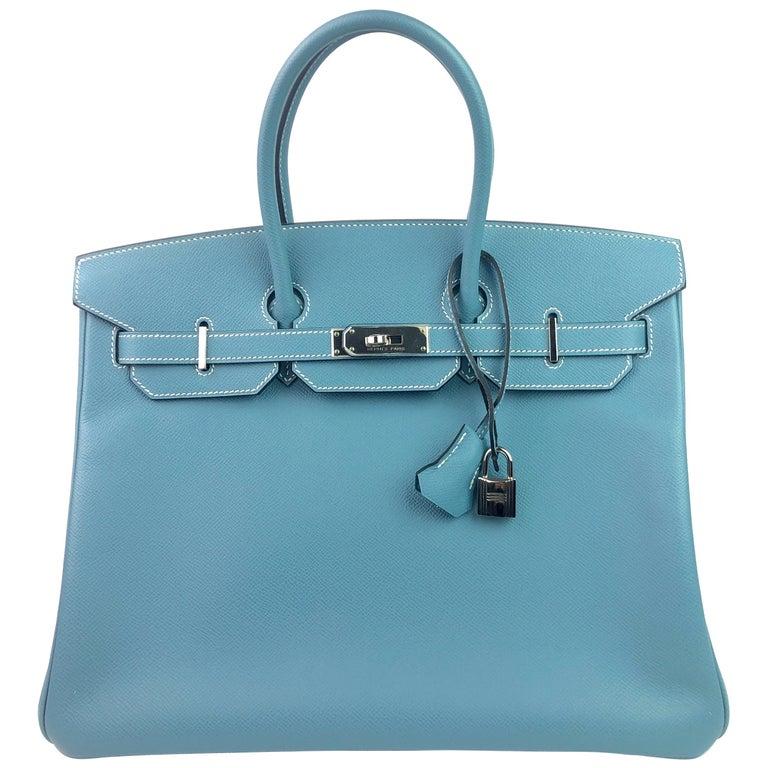 Hermes Birkin 35 Blue Jean Epsom Palladium Hardware  For Sale