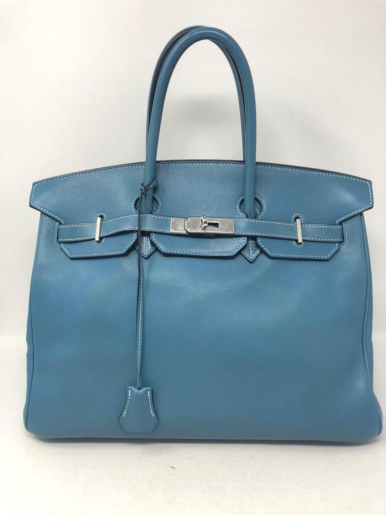 9373229c75a Hermes Birkin 35 Blue Jean with palladium hardware. Pre-loved has some  corner wear