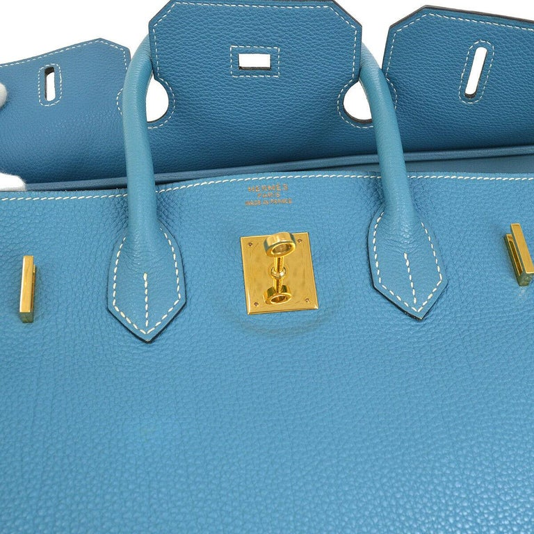 Hermes Birkin 35 Blue Leather Gold Top Carryall Handle Satchel Travel Tote Bag In Good Condition In Chicago, IL