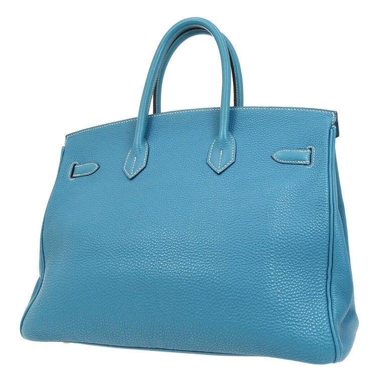 Women's Hermes Birkin 35 Blue Leather Gold Top Carryall Handle Satchel Travel Tote Bag