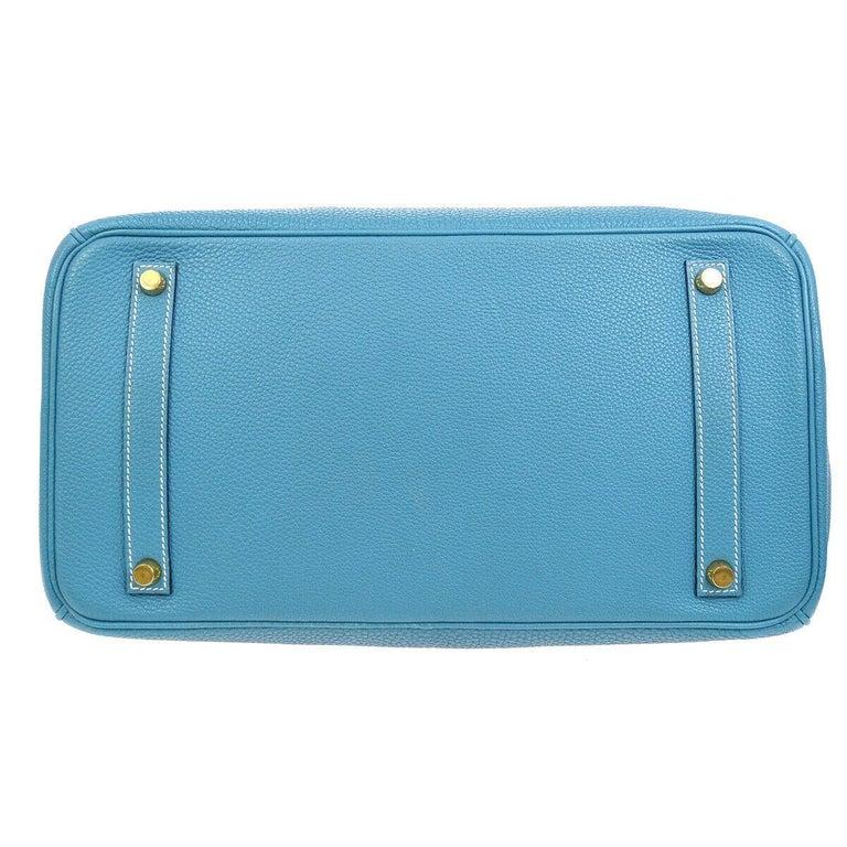 Hermes Birkin 35 Blue Leather Gold Top Carryall Handle Satchel Travel Tote Bag 1