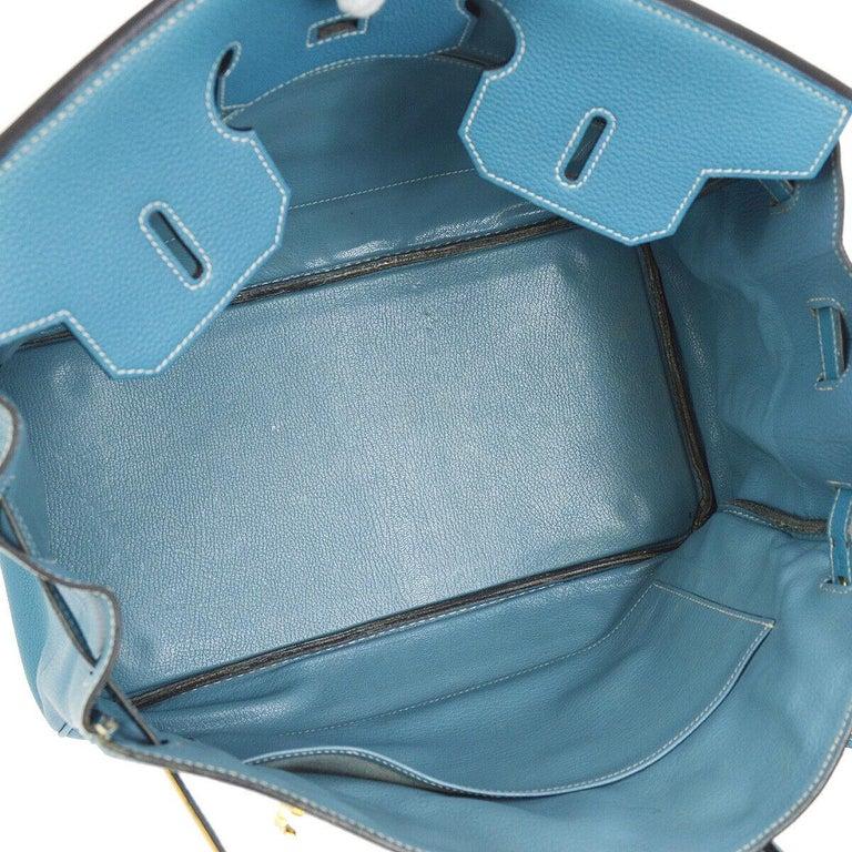 Hermes Birkin 35 Blue Leather Gold Top Carryall Handle Satchel Travel Tote Bag 3