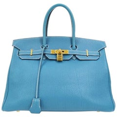 Hermes Birkin 35 Blue Leather Gold Top Carryall Handle Satchel Travel Tote Bag