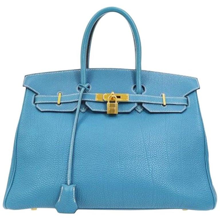 Hermes Birkin 35 Blue Leather Gold Top Carryall Handle Satchel Travel Tote Bag
