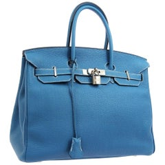 Hermes Birkin 35 Blue Leather Silver Top Carryall Handle Satchel Travel Tote Bag