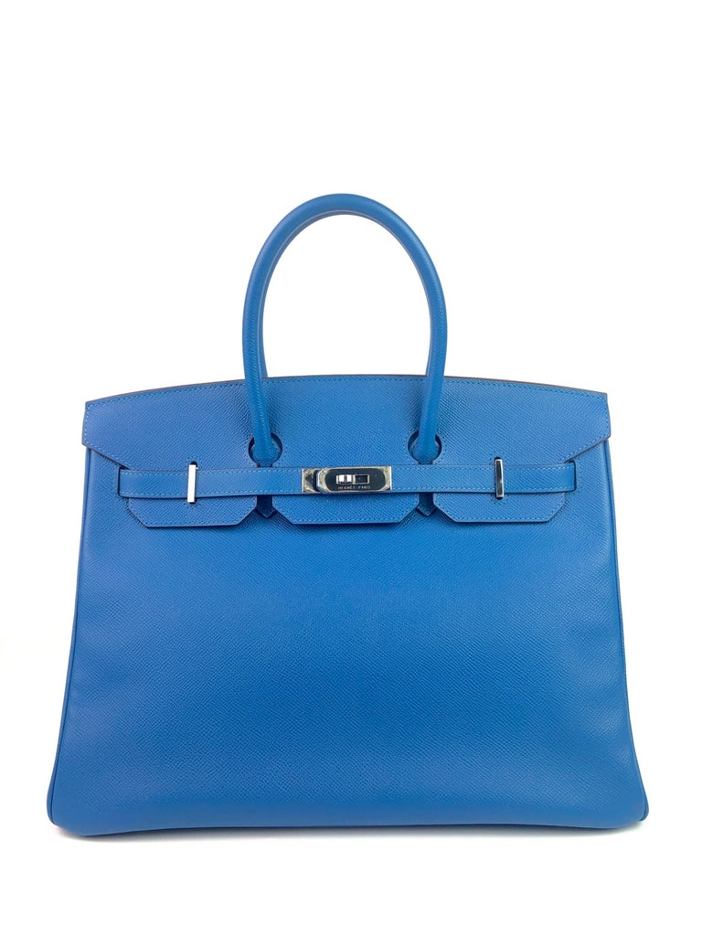 HERMES BIRKIN 35 BLUE MYKONOS EPSOM PALLADIUM HARDWARE.  Pristine condition with Plastic on Hardware and Feet, perfect corners and structure.   Shop with Confidence from Lux Addicts. Authenticity Guaranteed!