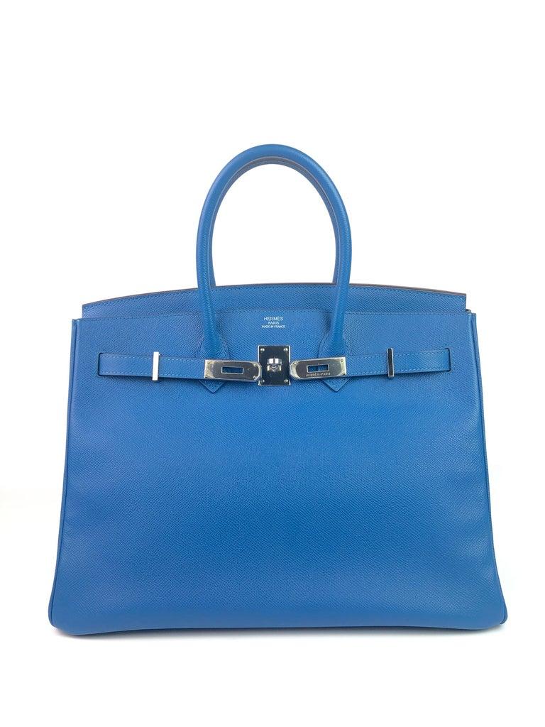 Hermes Birkin 35 Blue Mykonos Epsom Palladium Hardware  In Excellent Condition For Sale In Miami, FL