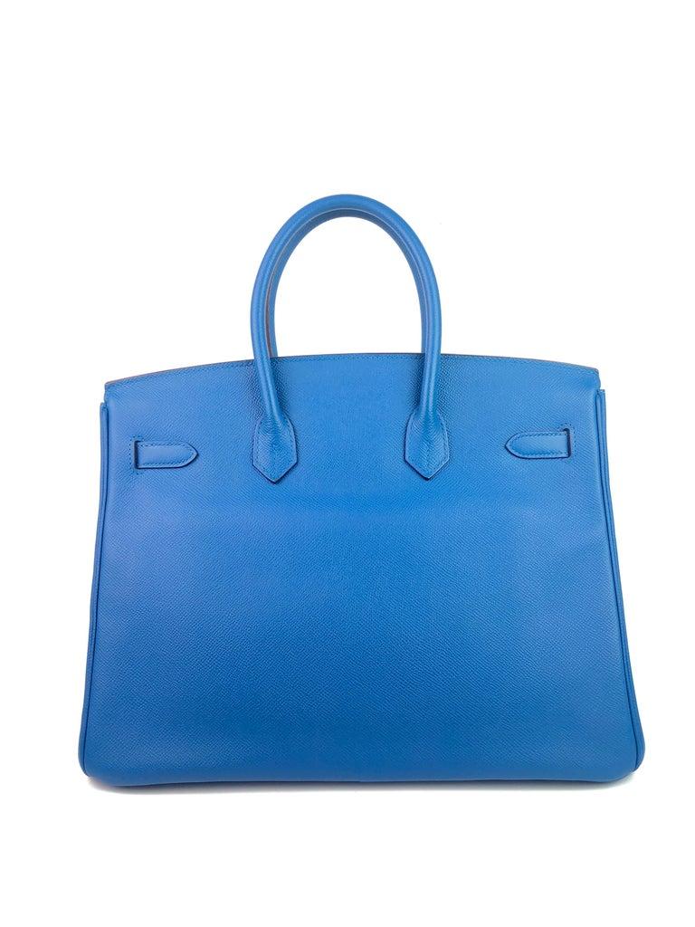 Women's or Men's Hermes Birkin 35 Blue Mykonos Epsom Palladium Hardware  For Sale