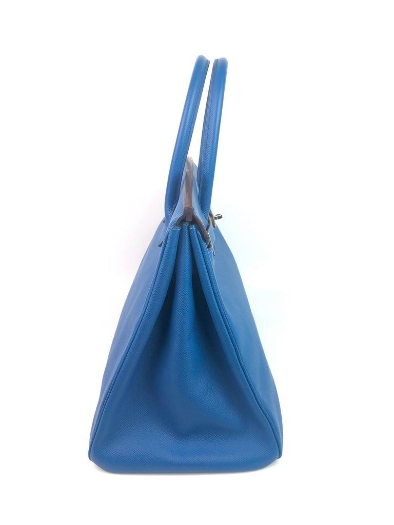 Hermes Birkin 35 Blue Mykonos Epsom Palladium Hardware  For Sale 2
