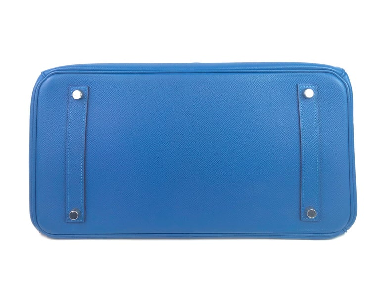 Hermes Birkin 35 Blue Mykonos Epsom Palladium Hardware  For Sale 4