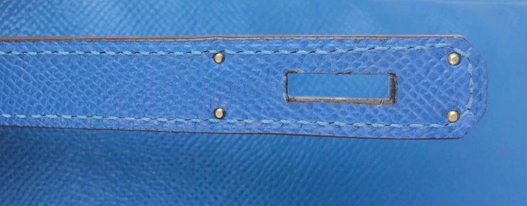 Hermes Birkin 35 Blue Mykonos Epsom Palladium Hardware  For Sale 5