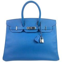 Hermes Birkin 35 Blue Mykonos Epsom Palladium Hardware
