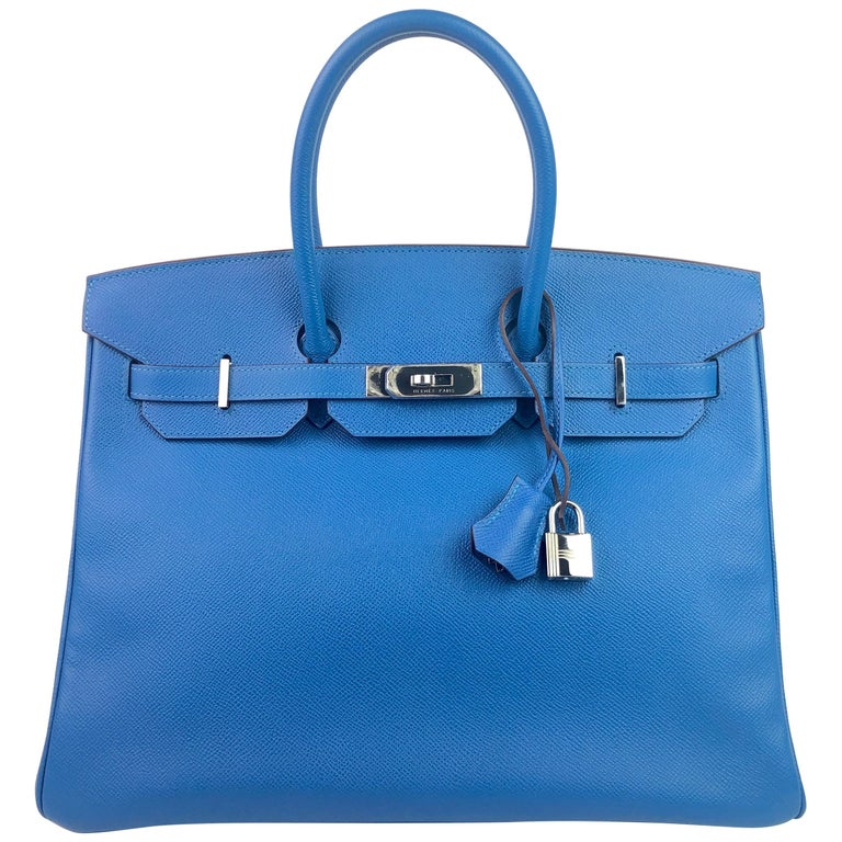 Hermes Birkin 35 Blue Mykonos Epsom Palladium Hardware  For Sale