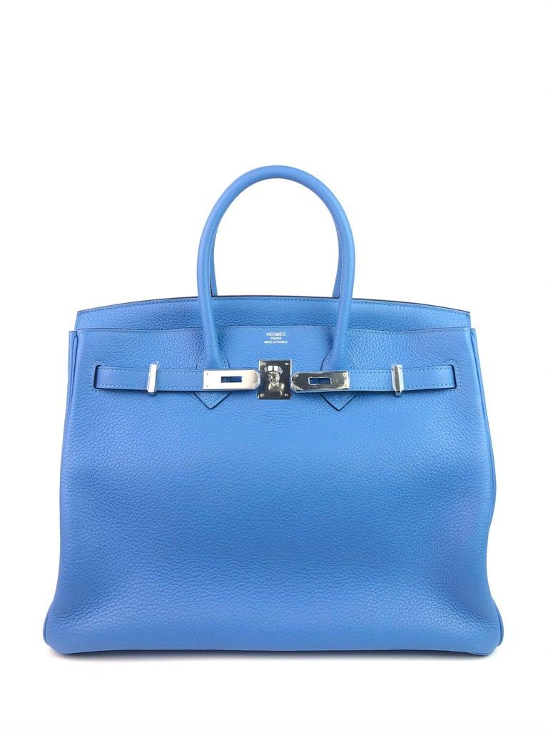 Hermes Birkin 35 Blue Paradise Palladium Hardware In Excellent Condition In Miami, FL