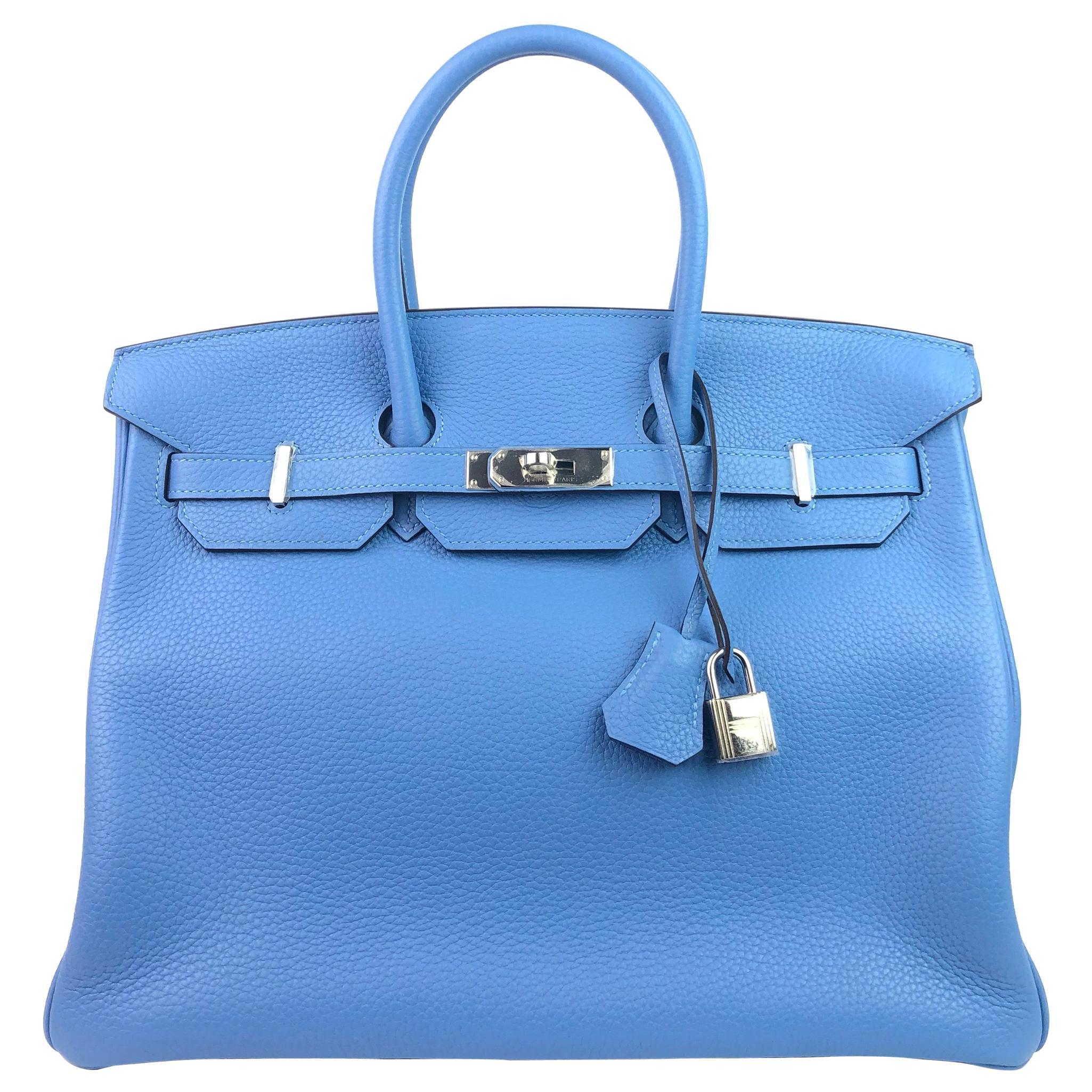 Hermes Birkin 35 Blue Paradise Palladium Hardware