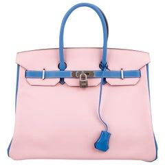 Hermes Birkin 35 Blue Pink Palladium Top Handle Satchel Tote Bag in Box